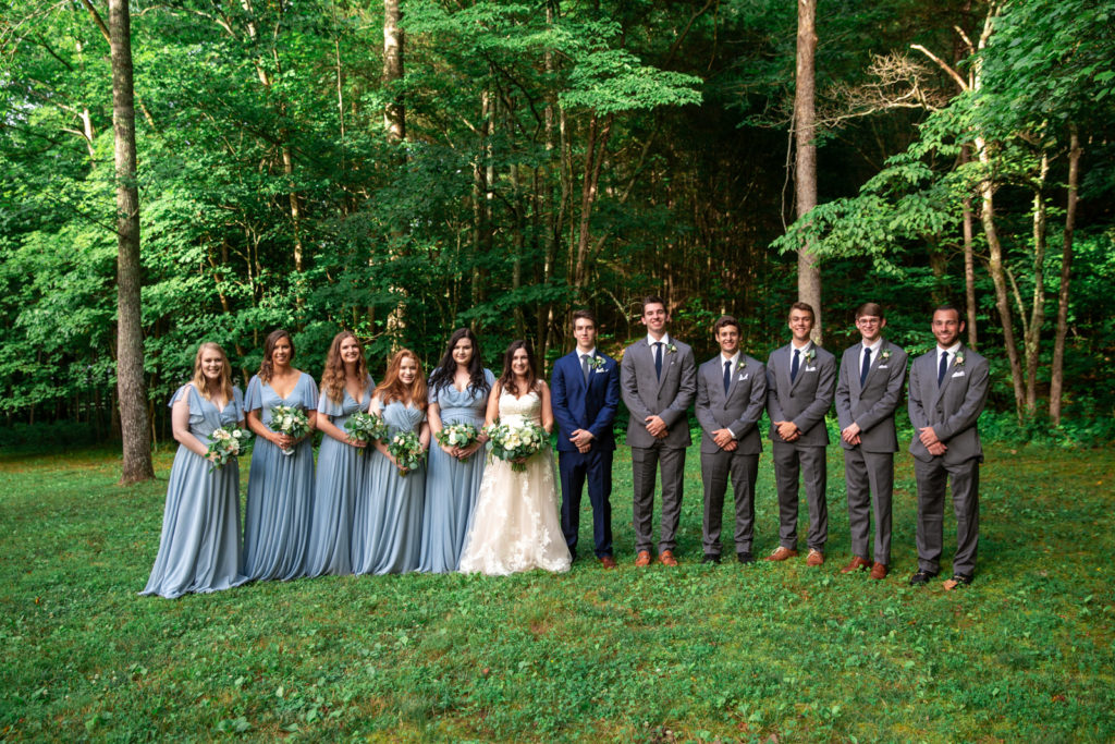 wedding party near wooded area in Tennessee Outdoor Farm Wedding
