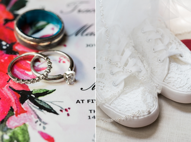 Brentwood wedding with tennis shoes and rings