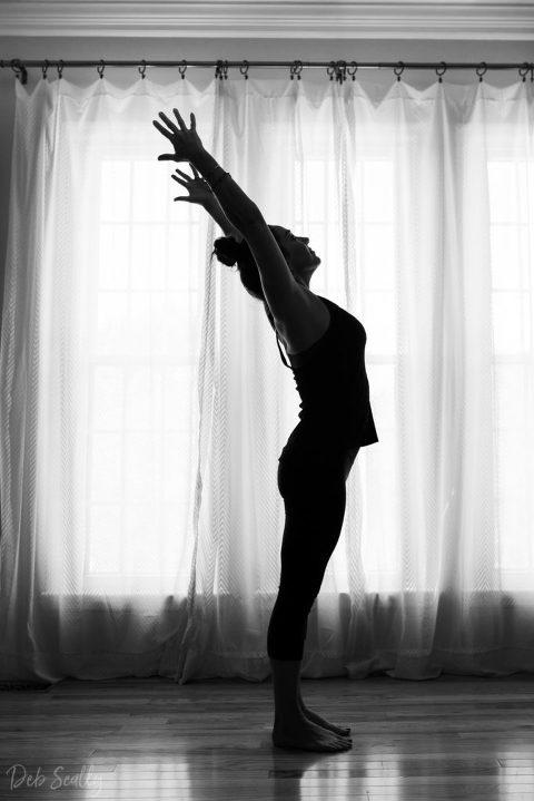 Upward facing hands pose in Nashville yoga photographer branding session in Nashville TN with Whitney Korman