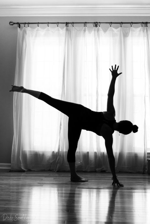 Half Moon pose pose in Nashville yoga photographer branding session in Nashville TN with Whitney Korman